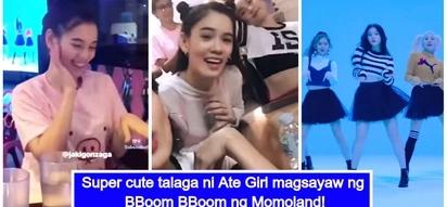 Viral Video ni Ate Girl habang sinasabayan sa pagsayaw ang Bboom Bboom ng Momoland sa TV