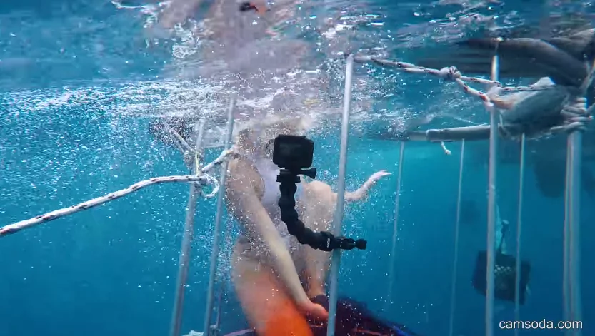 Model goes into an underwater cage to promote new technology. Sea beast didn't like it
