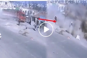 Violent truck completely destroys houses and kills five