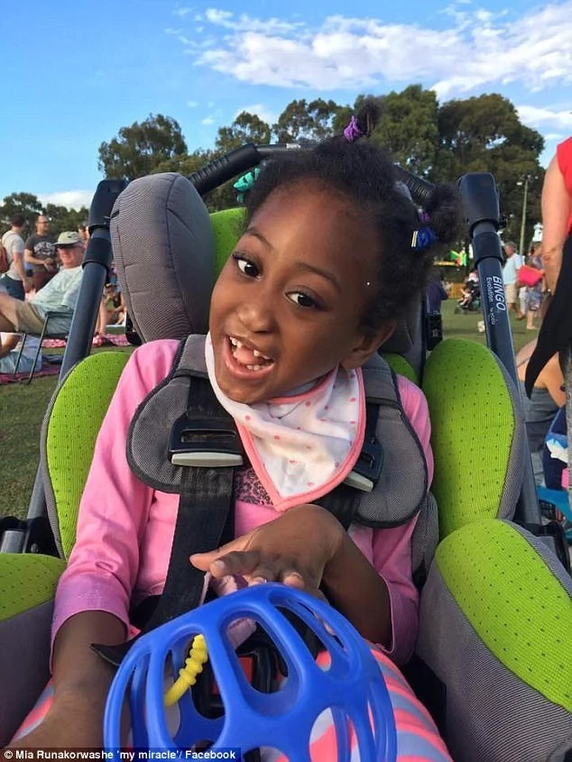 Mia has a rare neurological disorder that has delayed her development. Photo: Facebook/Mia Runakowarshe