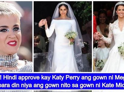 Napintasan at nakumpara! Katy Perry, inokray ang wedding gown ni Meghan Markle