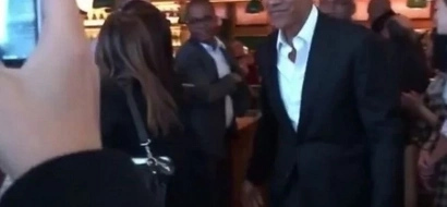Barack and Michelle Obama enjoy lunch with ROCKSTAR Bono at New York restaurant