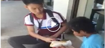 Ang inspiring naman! Generous student offers his lunch to a starving homeless child