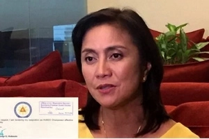 Housing chair Leni Robredo hands in her resignation letter