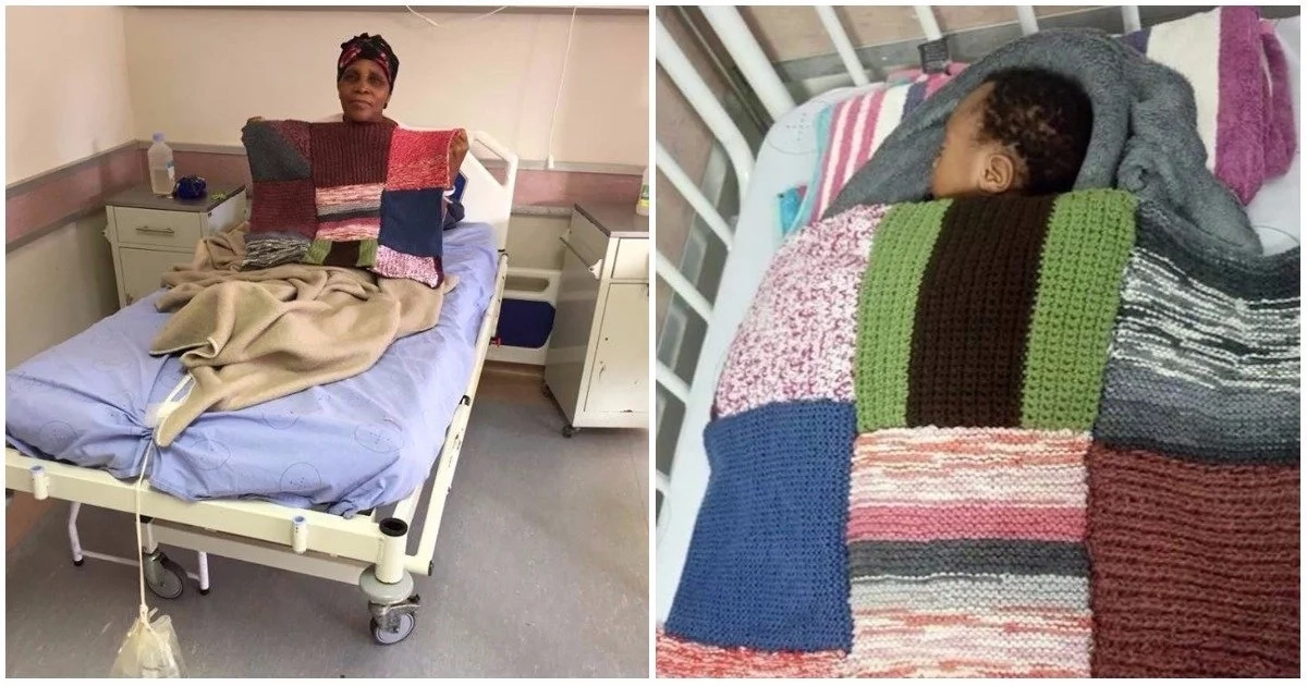 Kindhearted granny admitted in hospital uses her time to knit blankets for sick children