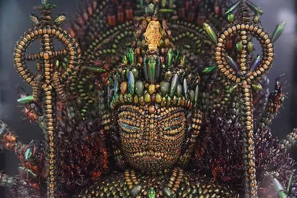 Man collects 20.000 rare beetles for six years to create huge sculpture of deity (photos, video)