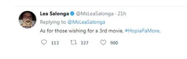 Lea Salonga gives a short message to those who hope she'd have another movie with Aga Muhlach