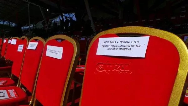 Photos: Raila had been reserved a seat at Afraha Stadium