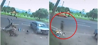 Spooky footage ghost rises from body after horrendous car crash