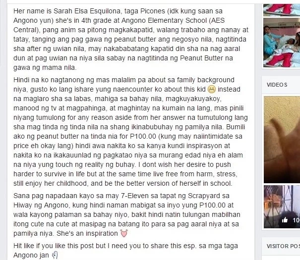 Netizen shares inspiring story of young Pinay who sells peanut butter