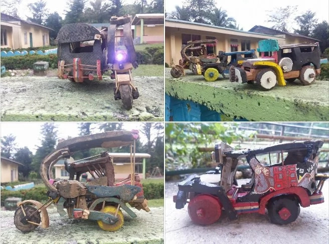 Mangyan boy raises funds by making toy cars out of slippers
