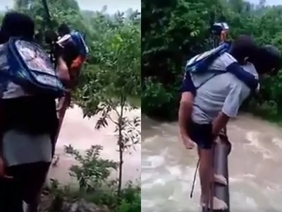 Young Pinoy students risk their lives by crossing scary makeshift bridge just to get to school