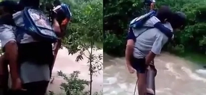 Brave Pinoy students risk their lives by crossing dangerous makeshift bridge just to get to school