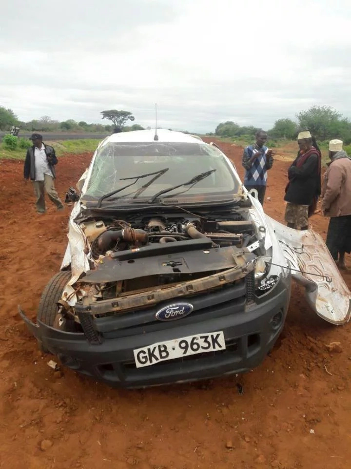 Mandera MP's car badly damaged in accident