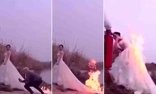 Bride sets her wedding dress on fire to capture the perfect shot (photos)