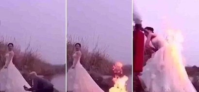 Camera man sets bride on FIRE in desperate attempt to get killer snapshot that she will never forget (photos)