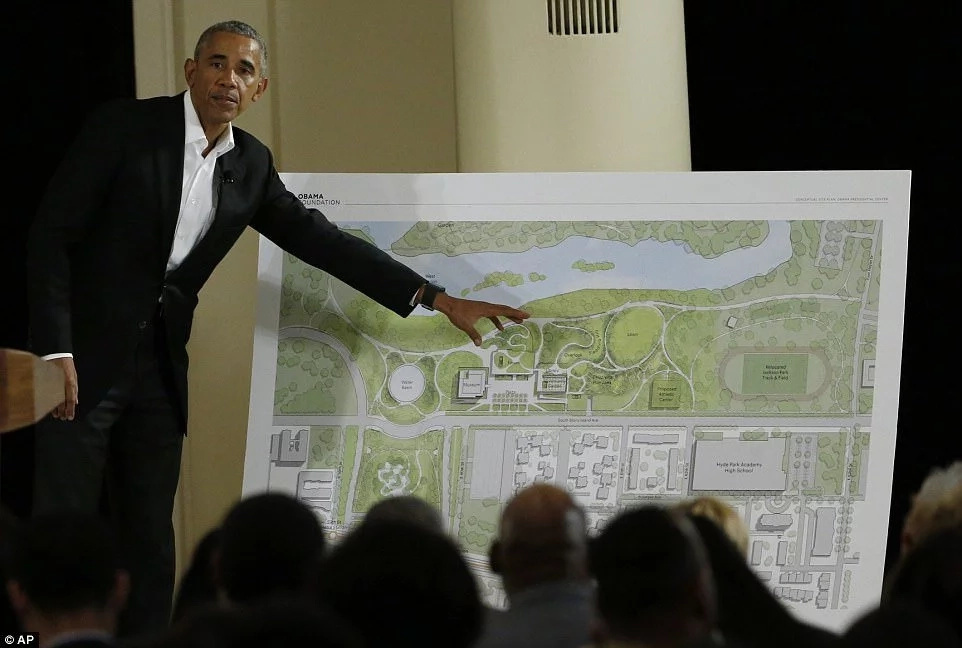 Barack Obama outlining the various aspects of the Presidential Center