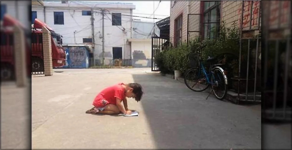 Father Punished Little Girl To Do Homework On Knees In The Hot Sun