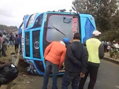 A Kenya Mpya bus overturns along Thika Road