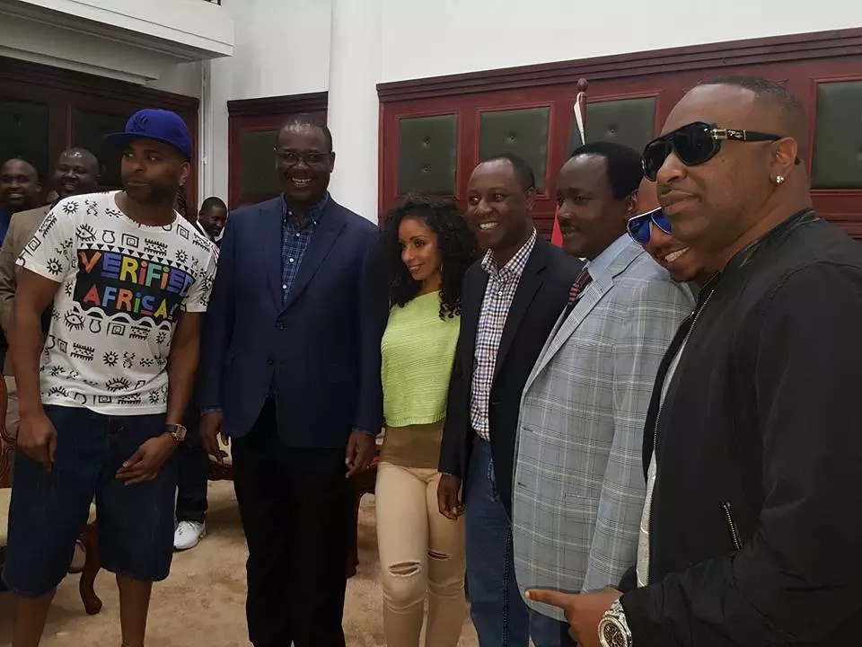 Kidero, Kalonzo excited to meet American singers Mya and Ginuwine at City Hall