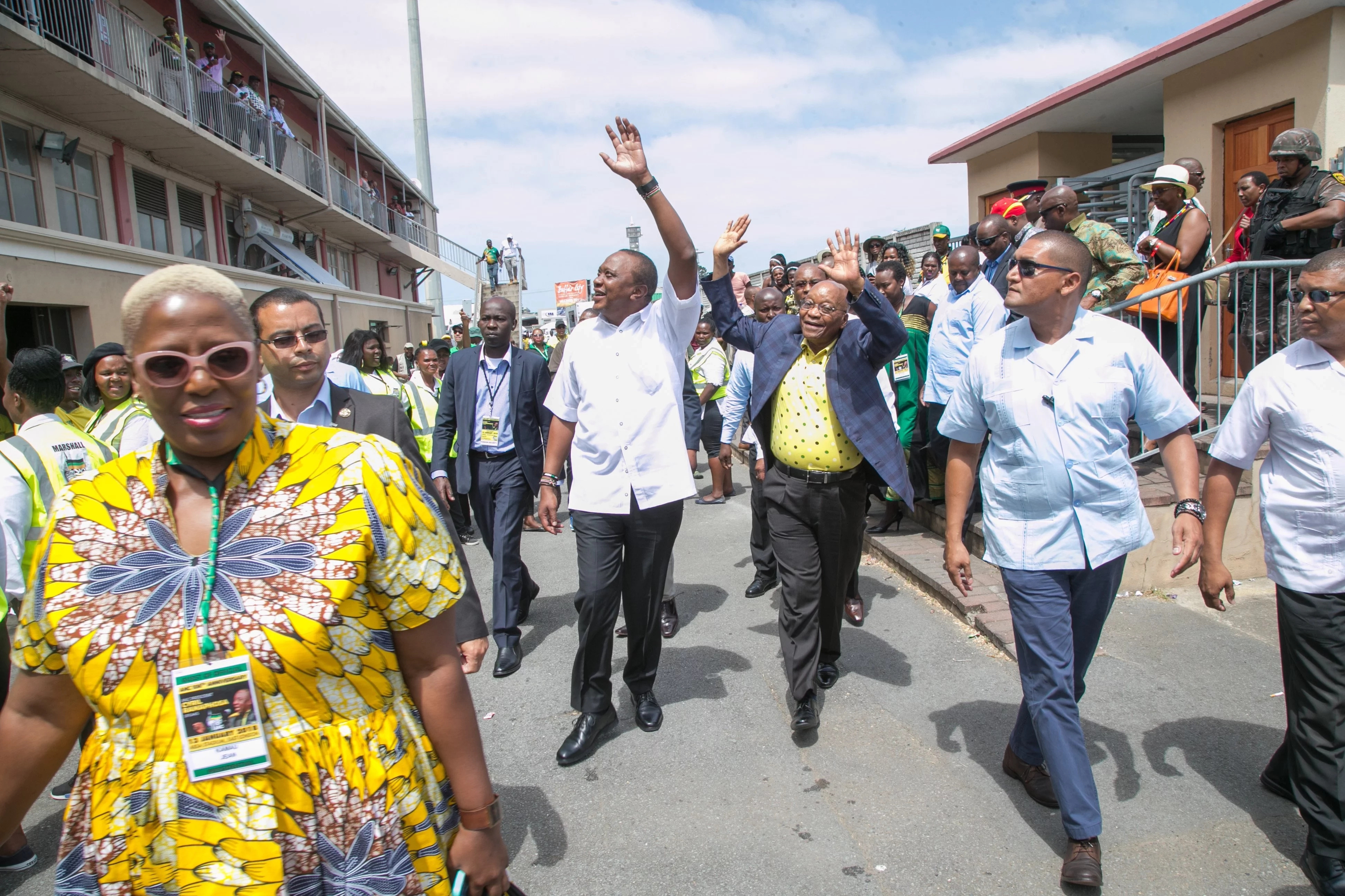 Kenyatta joins ANC leaders in celebrating their 106 birthday in Song and dance