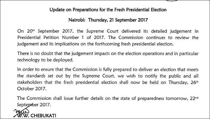 IEBC changes fresh election date after Supreme Court full judgement