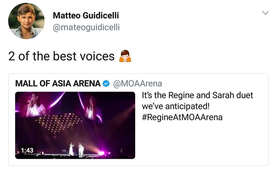 Matteo Guidicelli Praises Sarah Geronimo and Regine Velasquez