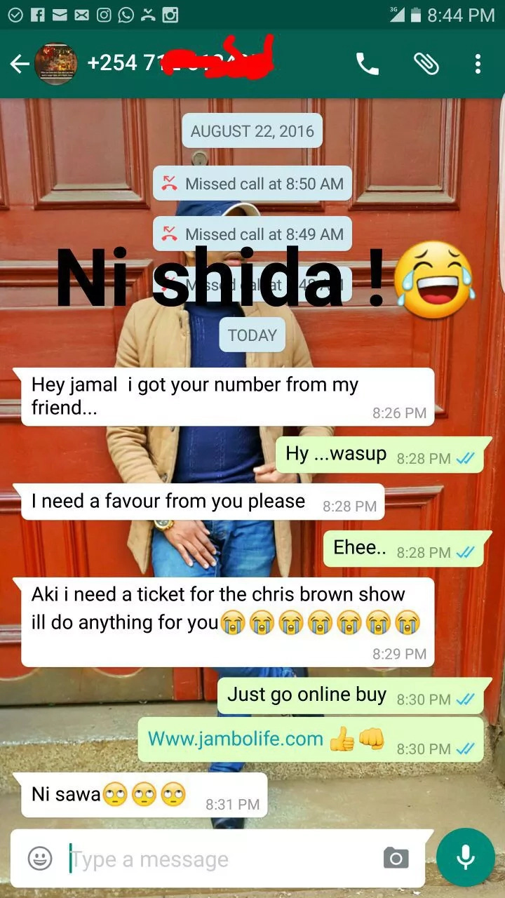 Desperate Kenyan girls beg for tickets to the Chris Brown concert