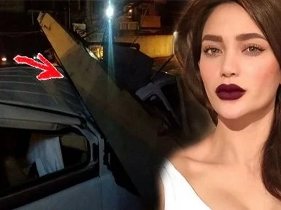 You won't believe what happened to Arci Muñoz when an electric post fell on her white Starex van!