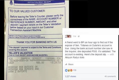LOOK: Duterte's alleged BPI account, real?