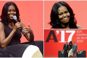 She's back! Michelle Obama looks relaxed in first public appearance after 3-month holiday (photos)