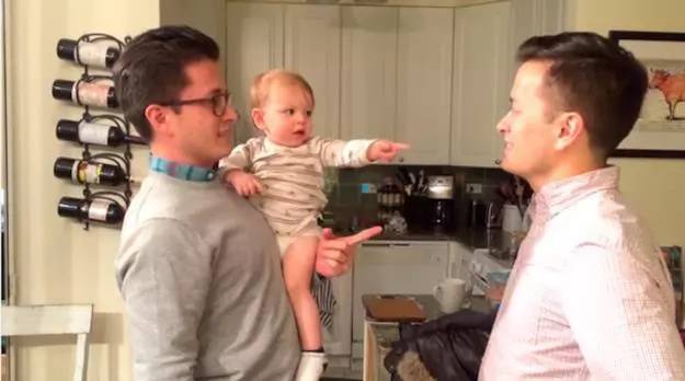 WATCH: Cute baby meets his dad's identical twin, what happens next will make you laugh