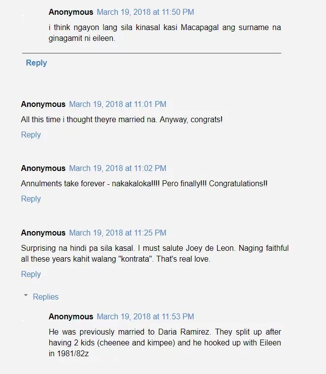 Never too late! Netizens react to Joey de Leon and Eileen Macapagal's wedding