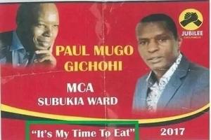 Ni wakati wangu wa KULA! Mwanasiasa wa Jubilee azua kashfa kwa kauli mbiu yake ya kushangaza lakini ya ukweli (picha)