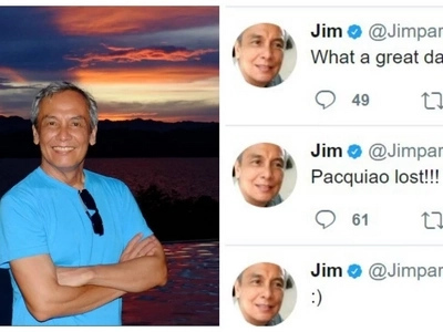 Personalan na ba ito? Netizens enraged by Jim Paredes after allegedly 'celebrating' Manny Pacquiao's loss against Jeff Horn