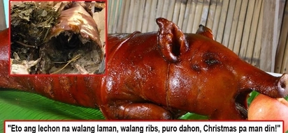 Nilinlang sa Pasko! Netizen lambasts seller of lechon baboy worth P5K after they discovered on Noche Buena it was hollow without ribs