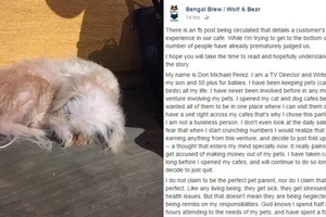 Owner of cat and dog cafe breaks his silence over Facebook post about their alleged improper treatment of animals