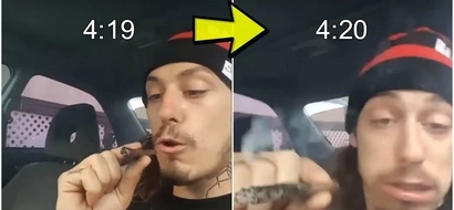 Dude tries to smoke a huge blunt in one breath, and his face at the end is priceless