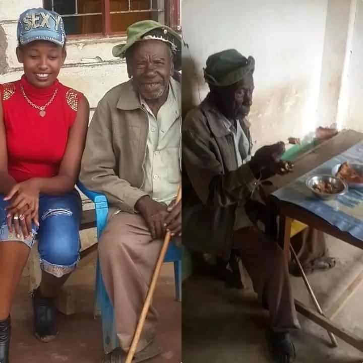 Bahati aonekana kijijini baada ya kumwulikwa eti amemtelekeza maskini babu yake (Picha)