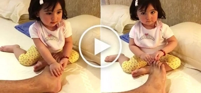 Super sweet Scarlet Snow gives her dad Hayden Kho a special foot massage