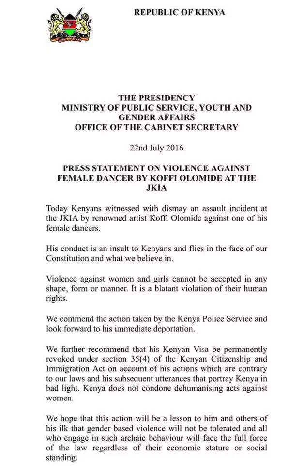 Government set to deport Koffi Olomide