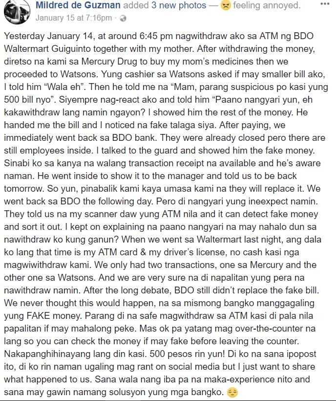 Dati nawawala ang pera, ngayon naman fake! Netizen rants about a fake 500 peso bill withdrawn from BDO ATM