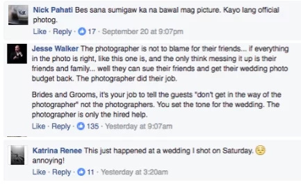 Filipino wedding photographer advises guests not to do this