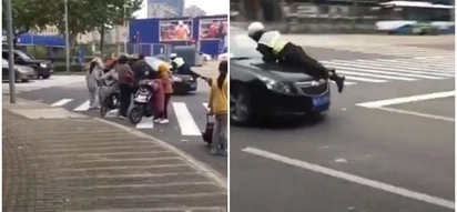 Hilarious! Driver refuses to show license, speeds off with traffic policeman clinging on car's bonnet