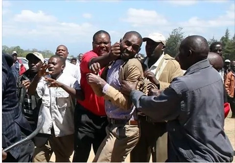 Nyeri MCA's beaten and thrown out of a gathering by an angry mob