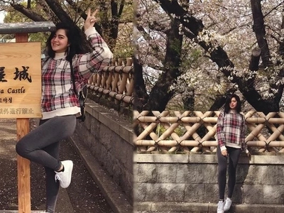 Sue Ramirez is looking every bit of a sweetheart during the cherry blossoms season in Japan