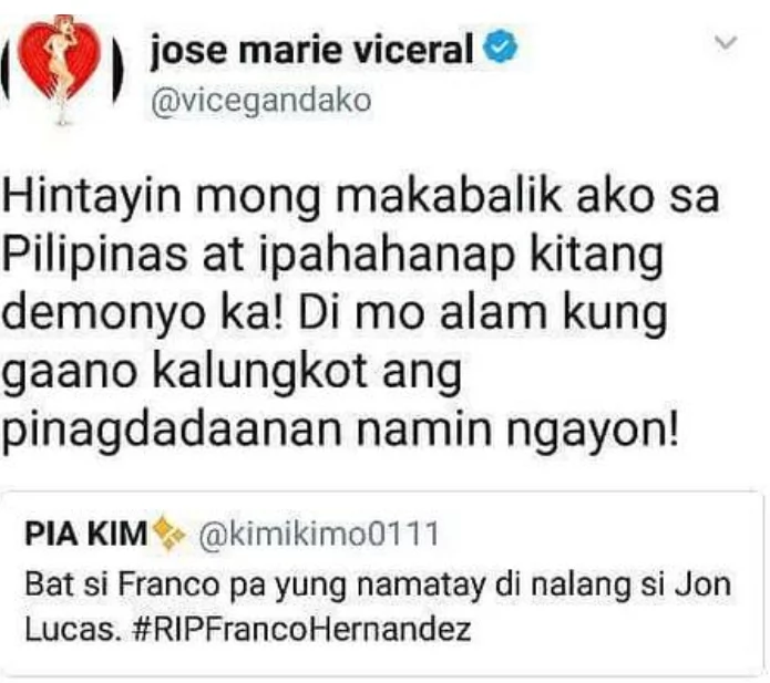 "Netizen Got Another Statement After Vice Ganda And Jon Lucas Reacts To Her Insensitive Joke About Franco's Demise ""Di Na Lang Si Jon Lucas"""