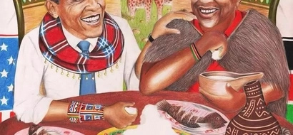 Breathtaking Painting Of Obama And Uhuru Sharing A Meal