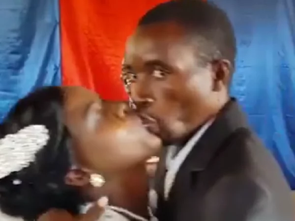 He almost killed the bridegroom when the pastor allowed them to kiss in church (video,photos)