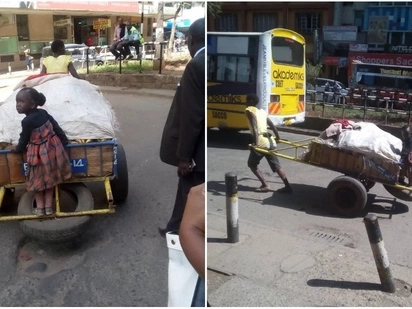 Nairobi woman pulling mkokoteni alongside little daughter will melt your heart